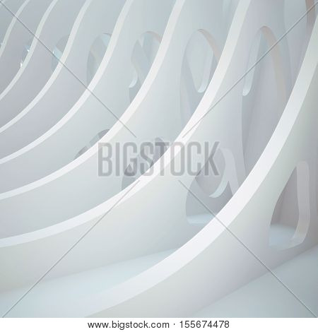 3d illustration. White three-dimensional composition based on a repetitive waveform extruded with oval holes. Architectural background render.