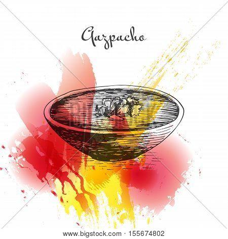 Gazpacho colorful watercolor effect illustration. Vector illustration of Spanish cuisine.