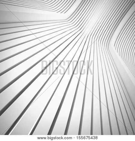 3d illustration. Architectural abstract white background based on extruded straight lines rounded in perspective. The image of the increase diagram. Render.