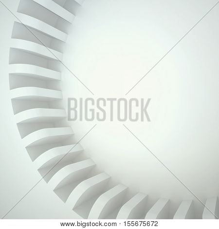3d illustration. Three-dimensional white composition based on a circular shape with uneven edges. Image of gears gear wheel. Place for text. Render.