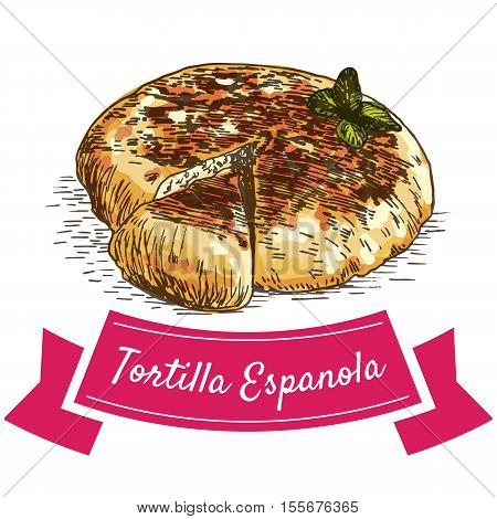 Tortilla Espanola colorful illustration. Vector illustration of Spanish cuisine.