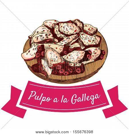 Pulpo a la gallega colorful illustration. Vector illustration of Spanish cuisine.