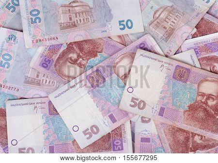 Ukrainian money nominal of fifty hryvnia closeup, texture