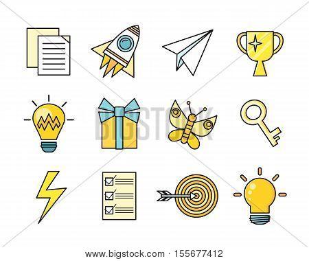 Idea generation icon set in flat. Idea generation, problem solving, strategy solution, analysis innovation, research, brainstorm, good solution, optimization insight inspiration illustration