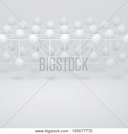 3d illustration. Abstract white three-dimensional composition render. The structure of the balls and connecting rods. The image of the atoms molecules the hinge. Place for text.