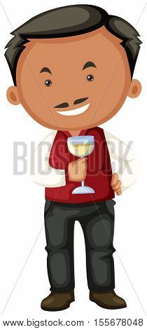 Winemaker holding glass of white wine illustration