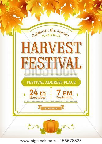 Harvest festival flyer. Autumn party poster design. Thanksgiving day - american traditional holiday. Fall leaves. Fun autumn festival harvest poster. Vector background. Vintage design.