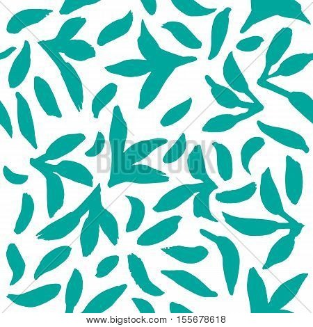 Seamless vector pattern with quirky chaotic hand drawn leaves on a white background