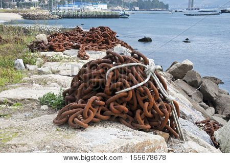 Chains on the breakwater in the Ria of Vigo, Pontevedra, Galicia, Spain