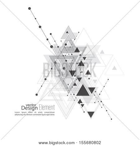 Abstract vector background with geometric shapes intersecting. Diagonal lines with dots and translucent triangles. Black and white. gray. Techno design. Technology and  Future.