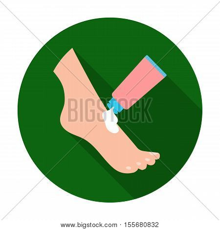 Cream for feet icon in flat style isolated on white background. Skin care symbol vector illustration.