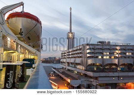 St.peterburg , Russia - October 24 : The Ferry Boat Princess Maria Is Moored At The Mooring In Port