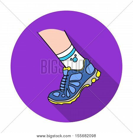 Sneakers icon in flat style isolated on white background. Sport and fitness symbol vector illustration.