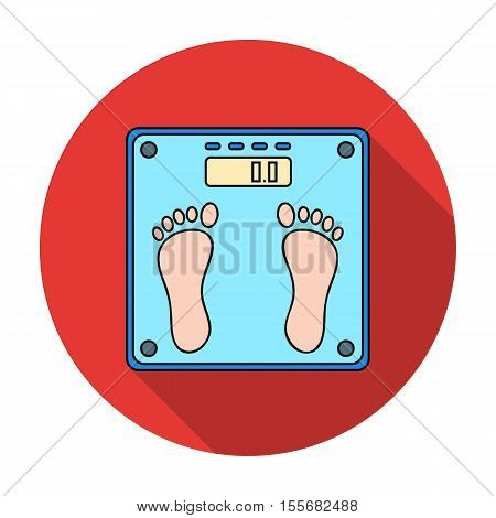 Weighing scale icon in flat style isolated on white background. Sport and fitness symbol vector illustration.