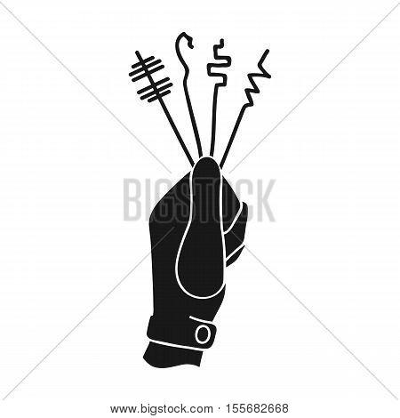Lockpicks icon in black style isolated on white background. Crime symbol vector illustration.