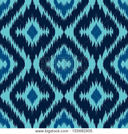 Ethnic blue seamless pattern. Boho textile print. Winter abstract wallpaper. Sea background for greeting cards and skrapbooking