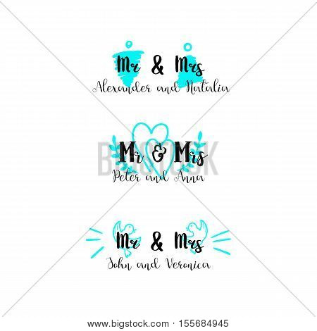 MR and MRS options on a form. Vector hand written signtaure for wedding invitations.