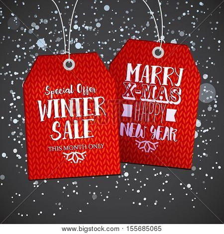 Retro price tag on snowing background for winter sale promo. Vector illustration. Red knitting discount tags.