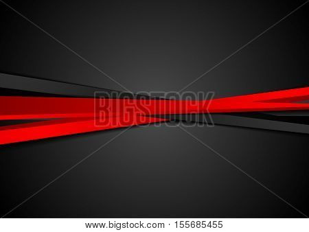 Contrast red black stripes corporate background. Abstract vector graphic brochure design