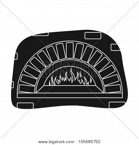 Wood-fired oven icon in black style isolated on white background. Pizza and pizzeria symbol vector illustration.