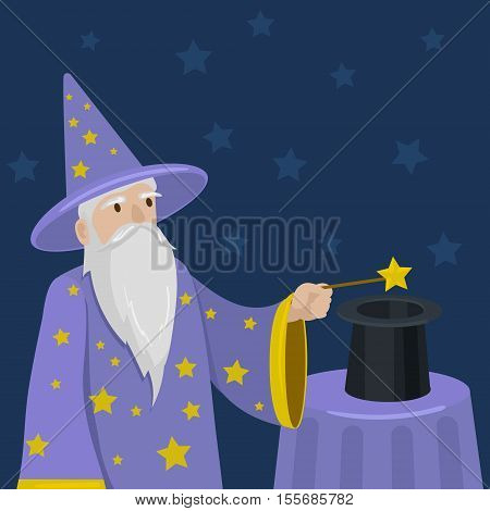 Magician with a magic wand and cylinder. Cartoon hand drawn colorful vector illustration