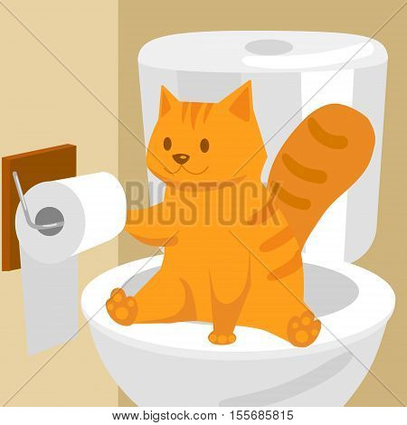 Ginger cat on the toilet. Funny colorful hand drawn cartoon vector illustration