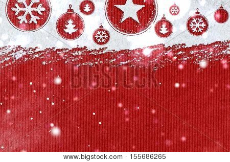christmas card or new year background made of xmas symbols handwritten on snow and red craft paper