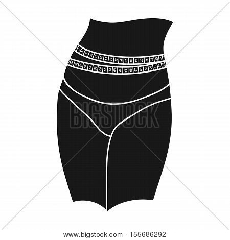 Waist with measuring tape icon in black style isolated on white background. Sport and fitness symbol vector illustration.