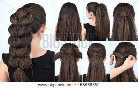 Hair tutorial. Festive hairstyle voluminous braid tutorial. Backstage technique of weaving plait. Hairstyle. Pull through braid. Hairstyle tutorial step by step. Hairstyle for rippled hair