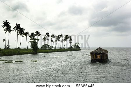 Houseboat on the river of Kerala in summer beautiful day