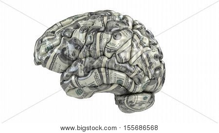 Human brain whith dollars texture isolated on white. Concept 3d render illustration