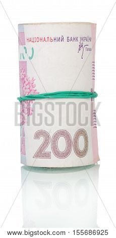 Ukrainian money UAH 200. in roll bonded rubber isolated on white background.