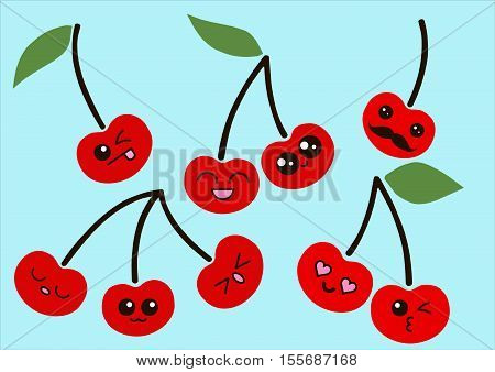 Cartoon cherry cute characters face isolated on blue background vector illustration. Funny cherry face icon vector collection. Cartoon face cherry emoji.