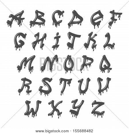 Grunge full alphabet vector set collection graphic typography. Vector typography set texture style symbol grunge font. Grunge paint brush script vintage grunge font texture style symbol typeset.