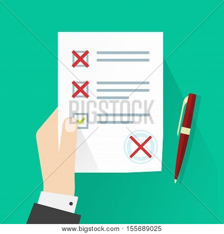 Student holding exam paper form with failed assessment vector illustration, pupil hand with incorrect answers survey, bad mark of test results, concept of unsuccessful report, mistakes