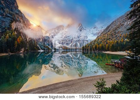 Great alpine lake Braies (Pragser Wildsee). Magic and gorgeous scene. Popular tourist attraction. Location place Dolomites, national park Fanes-Sennes-Braies, South Tyrol, Italy. Europe. Beauty world.