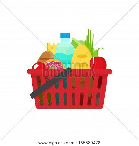 Grocery basket vector illustration, full of healthy groceries products shopping basket flat cartoon style, food and drinks in supermarket basket concept, food shopping icon