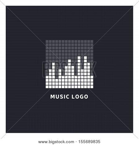 Music equalizer logo. Audio electronic icon. Music waves sign. Dj vector illustration. Black and white radio logo. Music app icon. Minimal player logo on dark background.