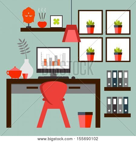 Flat design of Zen home office layout. Relaxing work environment.)