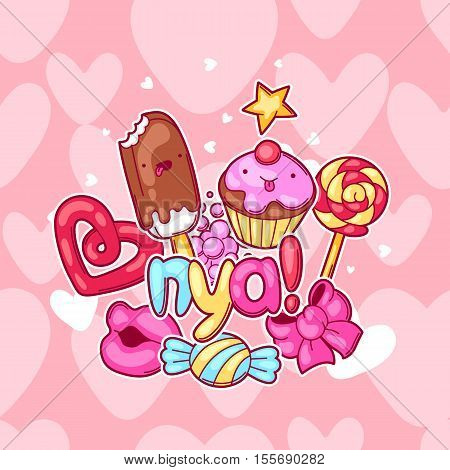 Kawaii background with sweets and candies. Crazy sweet-stuff in cartoon style.