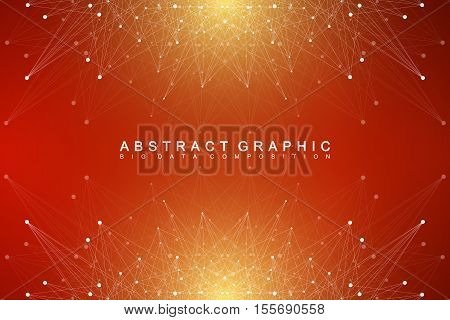 Geometric abstract background with connected line and dots. Minimal background visualization. Graphic background for your design. Big data visualization. Vector illustration