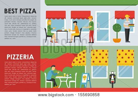 Best Pizza and Pizzeria flat  concept web vector illustration. Deliveryman, People, Waiter, Visitors, Scooter. Restaurant interior presentation.