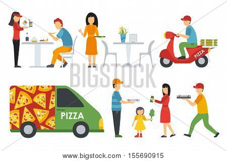 People in a Pizzeria Bistro interior flat icons set. Cashier, Deliveryman, Customers, Bistro, Waiters, Delivery, Car. Pizza concept web vector illustration.