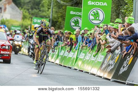 Bouille-MenardFrance - July4 2016: The French cyclist Armindo Fonseca of Fortuneo-Vital Concept Team wins the sprint during the stage 3 of Tour de France in Bouille-Menard on July 4 2016.