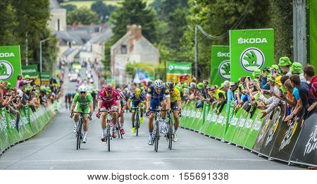 Bouille-MenardFrance - July 4 2016: Marcel Kittel Peter Sagan Alexander Kristoff and Mark Cavendish in full effort arrive at the intermediate sprint finish during the stage 3 of Tour de France in Bouille-Menard on July 4 2016.