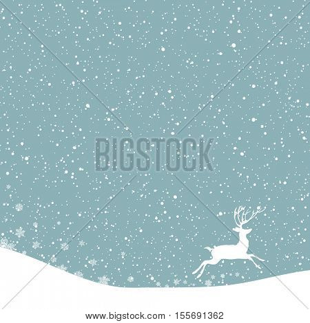 Christmas postcard. Vector background with white deer under snowfall