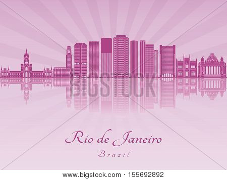 Rio De Janeiro V2 Skyline In Purple Radiant Orchid