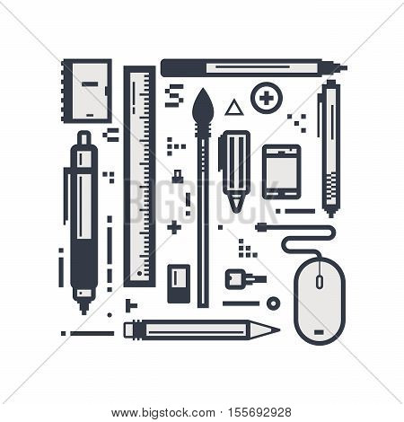 Set of pixel line style design objects. Some drawing pencils and pens. Office items linear concept.