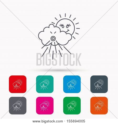 Wind icon. Cloud with sun and storm sign. Strong wind or tempest symbol. Linear icons in squares on white background. Flat web symbols. Vector