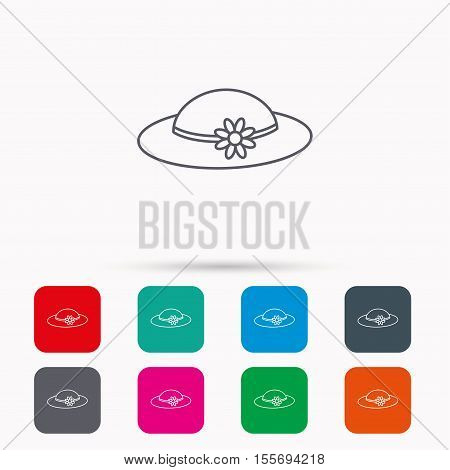 Female hat with flower icon. Women headdress sign. Linear icons in squares on white background. Flat web symbols. Vector